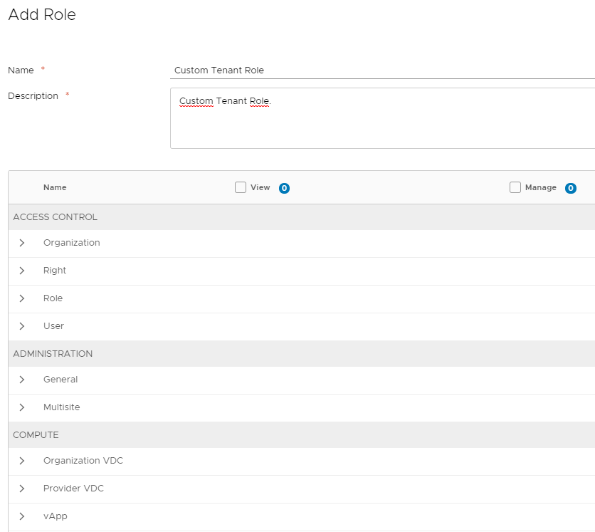 vCloud Director custom tenant role