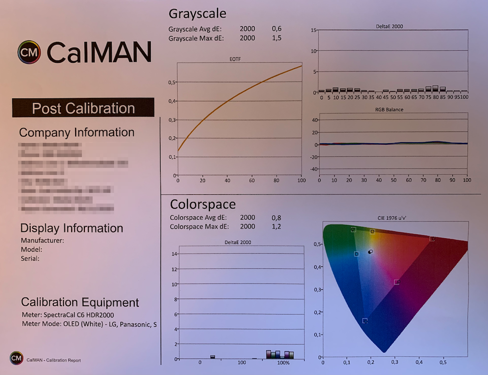 Calman Post Calibration Report