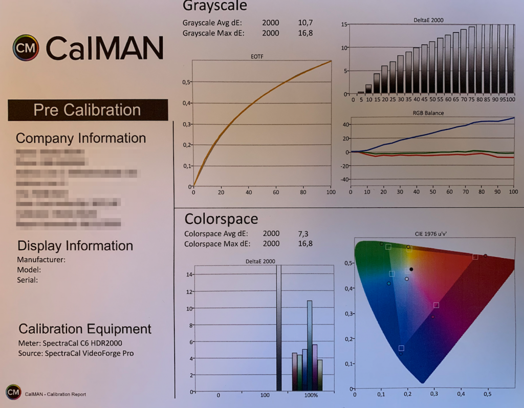 Calman Pre Calibration Report